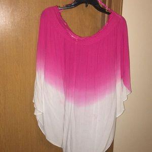 Pink ombré off shoulder dolman